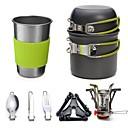 ราคาถูก อุปกรณ์ทำครัวในการตั้งแคมป์-Camping Cookware Mess Kit Camping Handle Pot Camping Stove 1.8 L หลายเลเยอร์ สวมใส่ได้ สำหรับ 2 คน อลูมิเนียมอัลลอยด์ กลางแจ้ง แคมป์ปิ้ง เดินทาง สีเขียว ส้ม