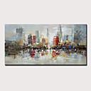 billige Abstrakte malerier-Hang malte oljemaleri Håndmalte - Abstrakt Landskap Moderne Uten Indre Ramme