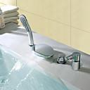 baratos Torneiras de Banheira-Torneira de Chuveiro / Torneira de Banheira - Moderna Cromado Difundido Válvula Cerâmica Bath Shower Mixer Taps