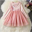 Χαμηλού Κόστους Σετ ρούχων για κορίτσια-Παιδιά Κοριτσίστικα Βασικό Dusty Rose Unicorn Μονόχρωμο Μακρυμάνικο Φόρεμα Βυσσινί