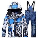 ราคาถูก ชุดสำหรับเล่นกีฬาสกี-RIVIYELE สำหรับผู้ชาย Ski Jacket & Pants กันลม Warm ระบายอากาศได้ กีฬาฤดูหนาว ฝ้าย POLY เดนิม ชุดออกกำลังกาย Ski Wear