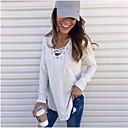 Χαμηλού Κόστους Γυναικείες Μπλούζες-Γυναικεία Πουκάμισο Μονόχρωμο Λαιμόκοψη V Μαύρο