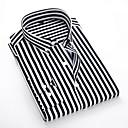 billige Tilbehør til herrer-Klassisk krage EU / USA størrelse Skjorte Herre - Stripet Svart / Langermet