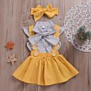Χαμηλού Κόστους Φορέματα για κορίτσια-Μωρό Κοριτσίστικα Ενεργό Καθημερινά Πουά Με Κορδόνια Κοντομάνικο Κανονικό Βαμβάκι Σετ Ρούχων Κίτρινο / Νήπιο
