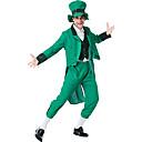 billiga Karnevalkostymer-Peter Pan Kostym Vuxna Herr Outfits Halloween Karnival St Patricks Day Festival / högtid Plysch Polyster Grön Karnival Kostymer 4 blad Shamrock Novelty