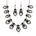 povoljno Komplet nakita-Žene Crvena Viseće naušnice Charm Necklace Vintage Style Moda Naušnice Jewelry Crvena Za Svečanost Spoj 1set
