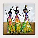 billige Abstrakte malerier-Hang malte oljemaleri Håndmalte - Abstrakt Mennesker Moderne Uten Indre Ramme