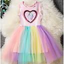 povoljno Movie & TV Theme Costumes-Djeca Djevojčice Osnovni Unicorn Duga Kolaž Bez rukávů Haljina Blushing Pink