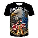 billige T-skjorter og singleter til herrer-Rund hals T-skjorte Herre - Fargeblokk / 3D / Dyr, Trykt mønster Grunnleggende / Gatemote Klubb Svart / Kortermet