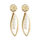 ราคาถูก ตุ้มหู-สำหรับผู้หญิง ต่างหูติดหู Drop Earrings ต่างหูแบบห่วง รูปเลขาคณิต คลาสสิก ต่างหู เครื่องประดับ สีทอง สำหรับ ทุกวัน เป็นทางการ 1 คู่