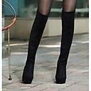 povoljno Modne naušnice-Žene Čizme Čizme preko koljena Wedge Heel Brušena koža Čizme preko koljena Jesen zima Crn