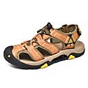 ราคาถูก รองเท้าแตะ & Loafersสำหรับผู้ชาย-สำหรับผู้ชาย รองเท้าสบาย ๆ หนัง ฤดูร้อนฤดูใบไม้ผลิ Sporty / ไม่เป็นทางการ รองเท้าแตะ ระบายอากาศ สีดำ / สีน้ำตาล