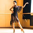ราคาถูก ชุดออกกำลังกายและชุดโยคะ-ชุดเต้นละติน Outfits สำหรับผู้หญิง Performance Modal / Tulle พู่ แขนสั้น ชุดแนบเนื้อสำหรับการเต้น / ชุดเดรส