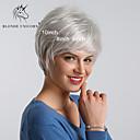 Χαμηλού Κόστους Wall Ταπετσαρίες-Συνθετικές Περούκες Ίσιο Κούρεμα νεράιδας Κούρεμα με φιλάρισμα Περούκα Κοντό Καφέ / Άσπρο Συνθετικά μαλλιά 10 inch Γυναικεία Απλός συνθετικός Η καλύτερη ποιότητα Λευκή BLONDE UNICORN