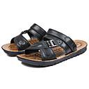 Χαμηλού Κόστους Αντρικά Πέδιλα-Ανδρικά Παπούτσια άνεσης Νάπα Leather Καλοκαίρι Καθημερινό Σανδάλια Περπάτημα Αναπνέει Μαύρο / Καφέ