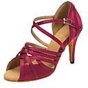 ราคาถูก รองเท้าเต้นโมเดิร์นและรองเท้าบัลเล่ต์-สำหรับผู้หญิง รองเท้าเต้นรำ ซาติน ลาติน Splicing ส้น ส้นสูงบาง ตัดเฉพาะได้ สีม่วง / Performance / หนังสัตว์