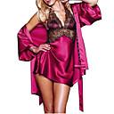povoljno Ogrtač-Žene Čipka Super seksi Babydoll / slip haljina / Ogrtač / Saten i svila Noćno rublje Jednobojni Crn purpurna boja Fuksija M L XL / Na vezanje oko vrata