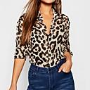billiga Modearmband-Leopard Skjorta Dam Tröjkrage Brun