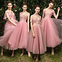 זול שמלות שושבינה-גזרת A עם תכשיטים באורך הקרסול טול שמלה לשושבינה  עם אפליקציות על ידי LAN TING Express