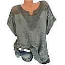 billiga Rakning och hårborttagning-Spets, Enfärgad Plusstorlekar T-shirt Dam V-hals Svart