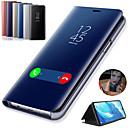 billige Smartklokker-Etui Til Samsung Galaxy Note 9 / Note 8 / Note 5 med stativ / Belegg / Speil Heldekkende etui Ensfarget Hard PU Leather
