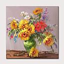 baratos Pinturas Abstratas-Pintura a Óleo Pintados à mão - Abstrato Floral / Botânico Modern Incluir moldura interna