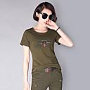 ราคาถูก เข็มกลัด-สำหรับผู้หญิง อำพราง Hiking T-shirt แขนสั้น กลางแจ้ง Lightweight ระบายอากาศ Fast Dry ความต้านทานการสึกหรอ เสื้อยึด Tops ฤดูร้อน ฝ้าย ครูเน็ค อาร์มี่ กรีน การอำพราง / ความยืดหยุ่นสูง / สีทึบ