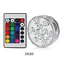 baratos Iluminação de Exteriores-1pç 5 W Lâmpada Subaquática Impermeável / Controlado remotamente / Regulável RGB + Branco 4.5 V Adequado para vasos e aquários 10 Contas LED