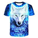 billige T-skjorter og singleter til herrer-Rund hals T-skjorte Herre - 3D / Dyr, Trykt mønster Grunnleggende / Gatemote Klubb Ulv Blå / Kortermet