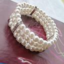 baratos Pulseiras-Mulheres Pulseiras com Miçangas Enrole Pulseiras Contas Doce Elegante Imitação de Pérola Pulseira de jóias Branco Para Casamento Festa