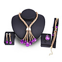 Χαμηλού Κόστους Σετ Κοσμημάτων-Γυναικεία Βυσσινί Cubic Zirconia Νυφικό κόσμημα σετ Κλασσικό Κρεμαστό Μοντέρνα Επιχρυσωμένο Σκουλαρίκια Κοσμήματα Χρυσό Για Γάμου Πάρτι 1set