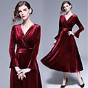 זול שמלות שושבינה-גזרת A צווארון V Midi קטיפה שמלה לשושבינה  עם סלסולים על ידי LAN TING Express