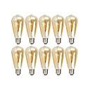 baratos Luminárias para Escrivaninha-10pçs 4 W Lâmpadas de Filamento de LED 360 lm E26 / E27 ST64 4 Contas LED COB Regulável Branco Quente 220-240 V 110-130 V