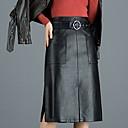 billige Kostymer, smykker og tilbehør-Dame A-linje Skjørt Ensfarget Svart M L XL / PU / Tynn