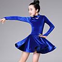 billiga Danskläder till balett-Latinamerikansk dans / Barndanskläder Klänningar Flickor Träning / Prestanda Pleuche Fallande volanger Långärmad Klänning