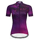 ราคาถูก เสื้อปั่นจักรยาน-TELEYI สำหรับผู้หญิง แขนสั้น Cycling Jersey สีม่วง ลวดลายดอกไม้ / เกี่ยวกับพฤษศาสตร์ ขนาดพิเศษ จักรยาน เสื้อยืด Tops ขี่จักรยานปีนเขา Road Cycling ระบายอากาศ แห้งเร็ว กีฬา Terylene เสื้อผ้าถัก