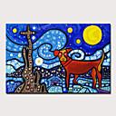billige Abstrakte malerier-Hang malte oljemaleri Håndmalte - Abstrakt Pop Kunst Moderne Klassisk Uten Indre Ramme / Valset lerret