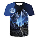 cheap Anime Costumes-Men's Daily Club Basic / Street chic T-shirt - Animal Wolf, Print Round Neck Blue / Short Sleeve