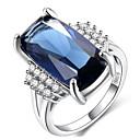 ราคาถูก ตุ้มหู-สำหรับผู้หญิง แหวน ไพลิน 1pc ฟ้า ทองเหลือง Geometric Shape Stylish แฟชั่น ปาร์ตี้ การหมั้น เครื่องประดับ คลาสสิค แหวนค็อกเทล เท่ห์