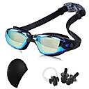 billiga Swim Goggles-Simglasögon Vattentät Tränare Simglasögon Anti-Dimma Spegel Gummi PC Svart Mörkblå Mörk Guld Mörkblå Silver