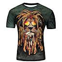 billiga Hundkläder-Tryck, Djur / Tecknat Plusstorlekar T-shirt Herr Rund hals Purpur