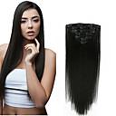 billiga Syntetisk hårförlängning-Klämma in Människohår förlängningar Rak Obehandlad hår Hårförlängningar av äkta hår 14-20 tum Naturlig Mellanbrun / Rödlätt