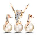 billiga Jewelry Set-Dam Dubb Örhängen Hänge Halsband Klassisk Klassisk Europeisk Elegant Oäkta pärla Bergkristall örhängen Smycken Guld Till Party Ceremoni Bal 3pcs / förpackning