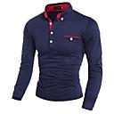 billige Oxfordsko til herrer-Bomull Tynn Skjortekrage Polo Herre - Polkadotter, Trykt mønster Hvit / Langermet