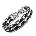 voordelige Digitaal Horloge-Heren Armbanden met ketting en sluiting Modieus Initial Titanium Staal Armband sieraden Zilver Voor Dagelijks