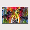 billige Abstrakte malerier-Hang malte oljemaleri Håndmalte - Abstrakt Klassisk Moderne Uten Indre Ramme