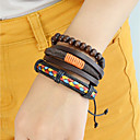 billiga Modeklockor-Dam Läder Armband Multi lager Stilig Bohem PU Armband Smycken Kaffe Till Dagligen Datum