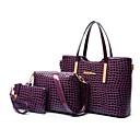 Χαμηλού Κόστους Σετ τσάντες-Γυναικεία Φερμουάρ Λουστρίνι Σετ τσάντα Συμπαγές Χρώμα 3 σετ Σετ τσαντών Μαύρο / Βυσσινί / Ρουμπίνι