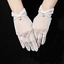 baratos Bouquets de Noiva-Tule Até o Pulso Luva Corte Pérola / Elegante Com Diamante Acrilico / Perola Imitação / Pingente