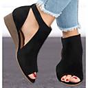 ราคาถูก รองเท้าแตะผู้หญิง-สำหรับผู้หญิง หนังนิ่ม ฤดูใบไม้ผลิ รองเท้าแตะ รองเท้าส้นตึก สีดำ / ผ้าขนสัตว์สีธรรมชาติ / สีน้ำตาล